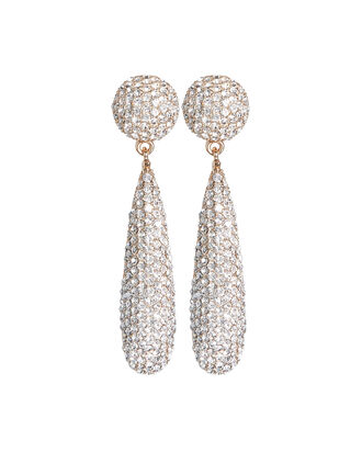 Pavé Crystal Teardrop Earrings, CLEAR, hi-res