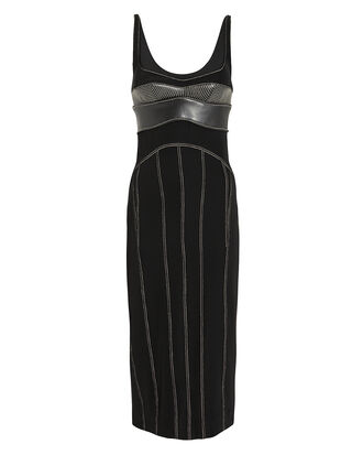 Leather Bustier Contrast Stitch Dress, BLACK/WHITE, hi-res
