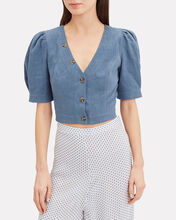 Tinley Denim Crop Top, DENIM, hi-res