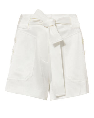 Satin White Shorts, WHITE, hi-res
