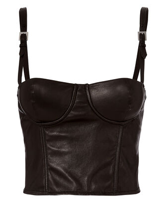 Leather Bustier Top, BLACK, hi-res