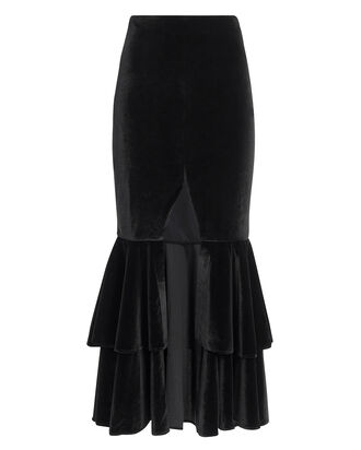 Bo Black Ruffle Midi Skirt, BLACK, hi-res
