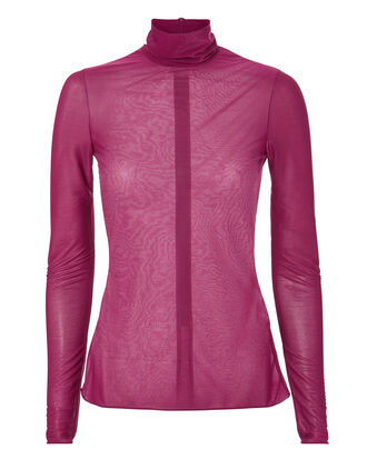 Polo Neck Top, PINK-DRK, hi-res