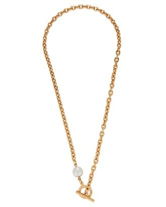 Pearl Lariat Chain-Link Necklace, GOLD, hi-res