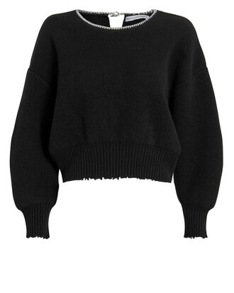 Ball Chain Cutout Pullover, BLACK, hi-res