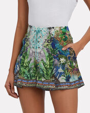 Printed Silk Lace-Up Shorts, BLUE JAGUAR JUNGLE PRINT, hi-res