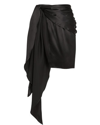 Silk Charmeuse Draped Mini Skirt, BLACK, hi-res