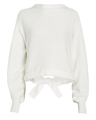 Bow Cotton-Blend Sweater, WHITE, hi-res