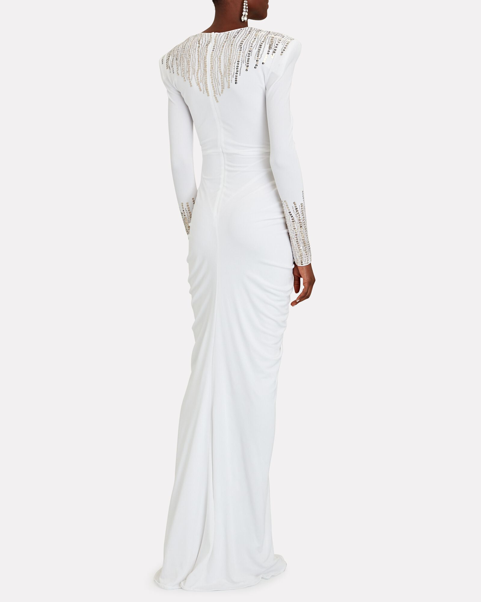 Sequined Jersey Cut-Out Gown, WHITE, hi-res