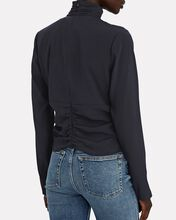 Felicity Ruched Silk Keyhole Top, NAVY, hi-res