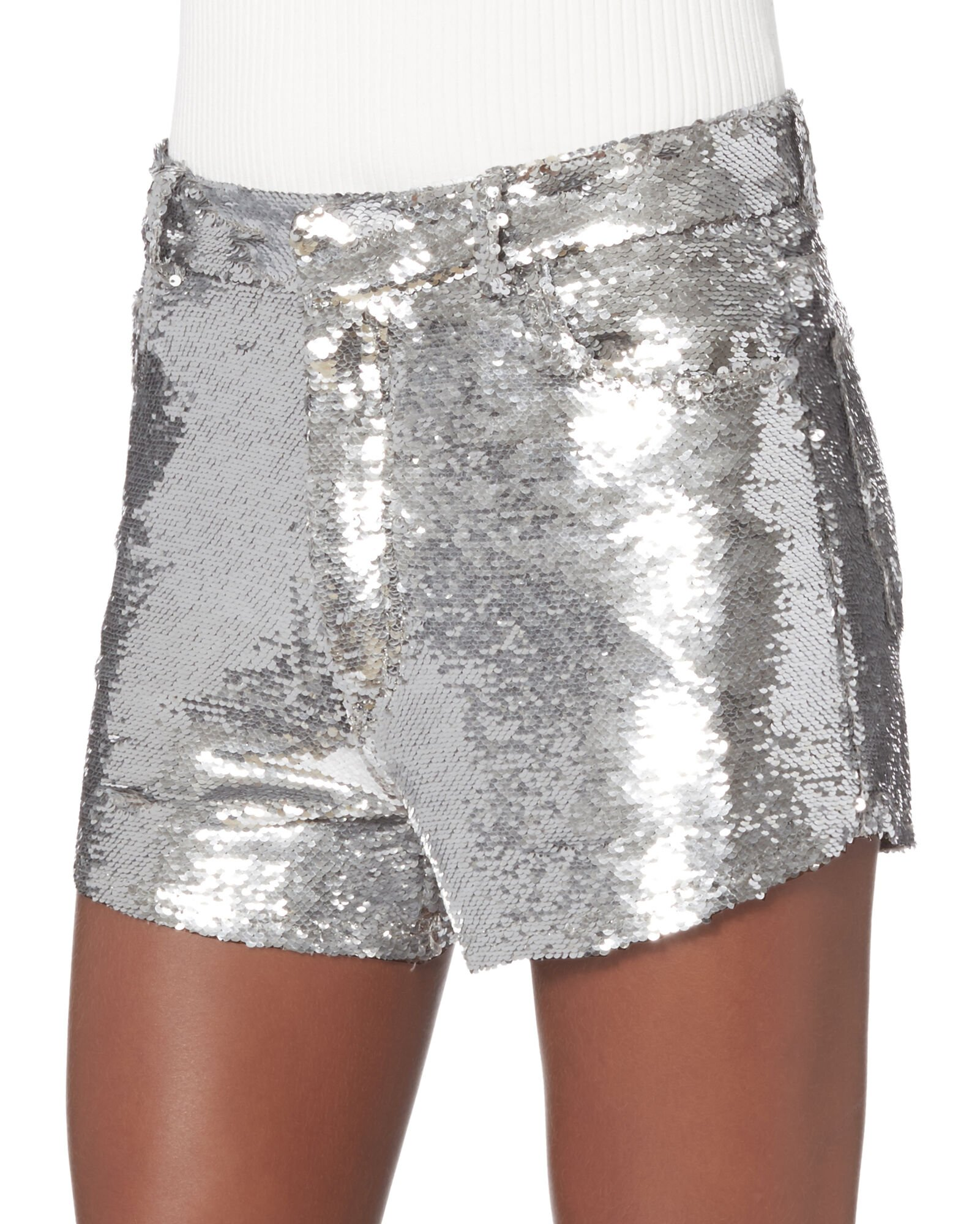 Silver Sequin Shorts - High-waisted Shorts | INTERMIX