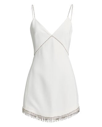 Embellished Crepe Mini Dress, WHITE, hi-res