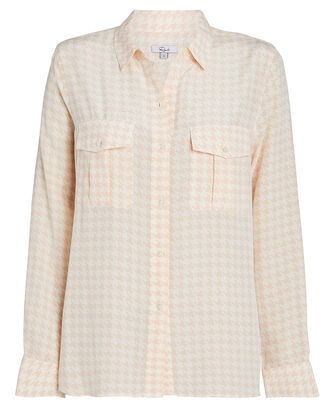 Rhett Houndstooth Silk Oxford Shirt, BLUSH/HOUNDSTOOTH, hi-res