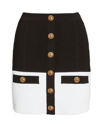 Colorblock Knit Mini Skirt, BLACK/WHITE, hi-res