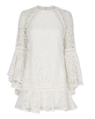 Veronique Lace Flare Dress, WHITE, hi-res