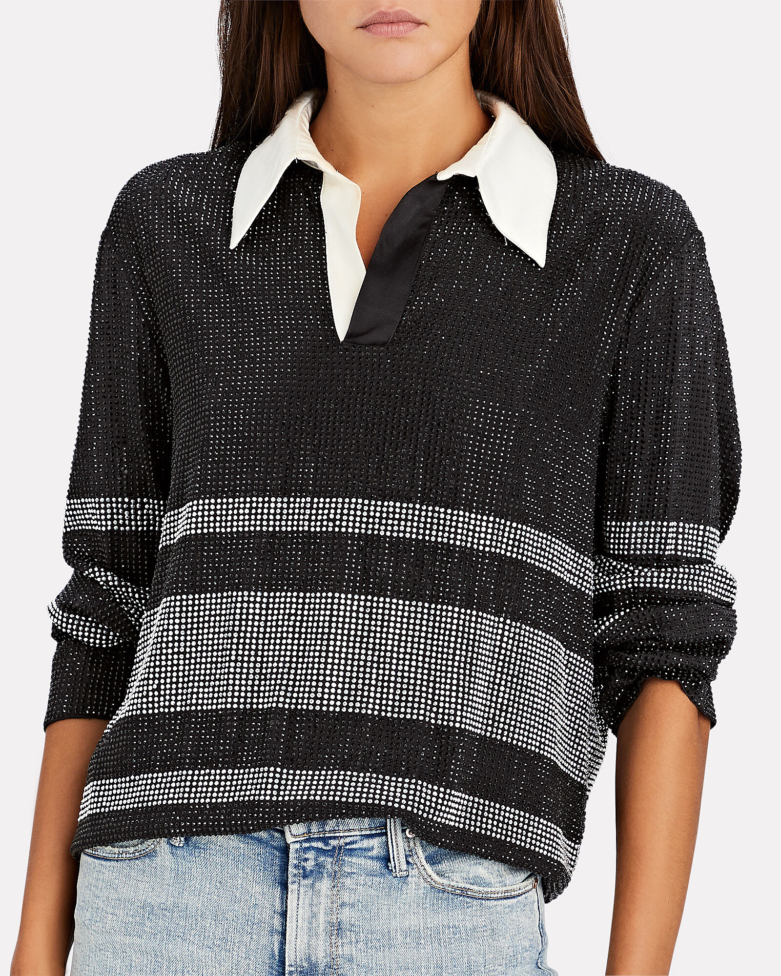 Joie Striped Crystal Rugby Top, BLK/WHT, hi-res