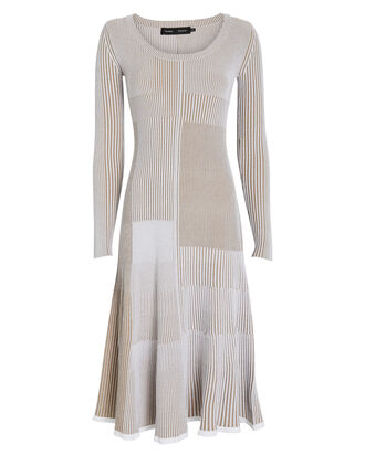 Mixed Rib Knit Midi Dress, BEIGE, hi-res
