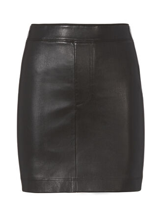 Black Stretch Leather Skirt, BLACK, hi-res