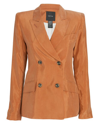 Double-Breasted Tuck-In Blazer, ORANGE, hi-res