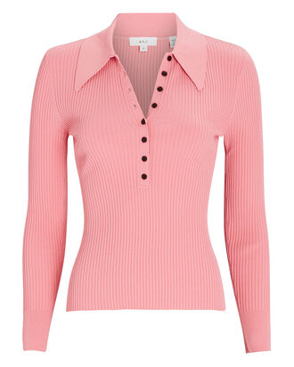 Lance Rib Knit Top, CORAL, hi-res