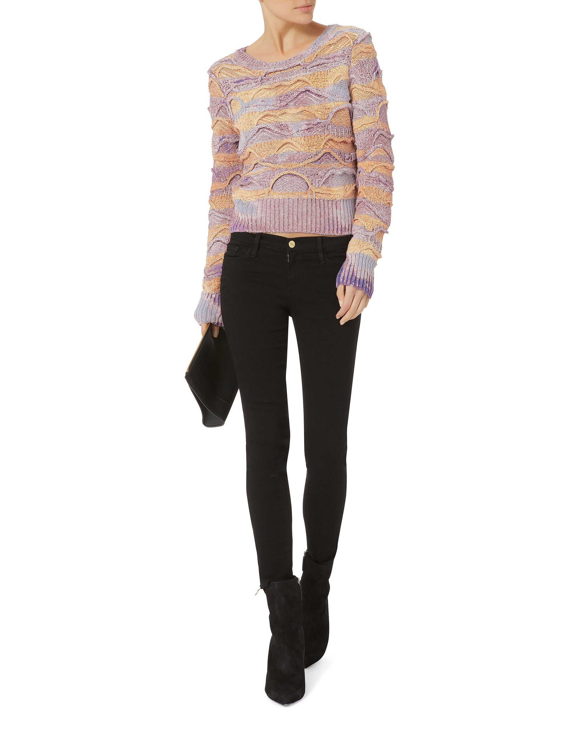 Multi-Bleached Cropped Sweater, MULTI, hi-res