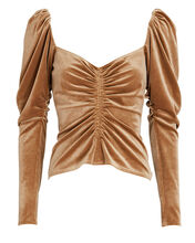 Chamberlain Ruched Velvet Top, BROWN, hi-res