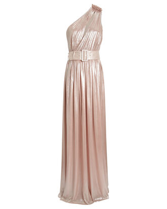 Andrea One-Shoulder Lamé Gown, PINK, hi-res