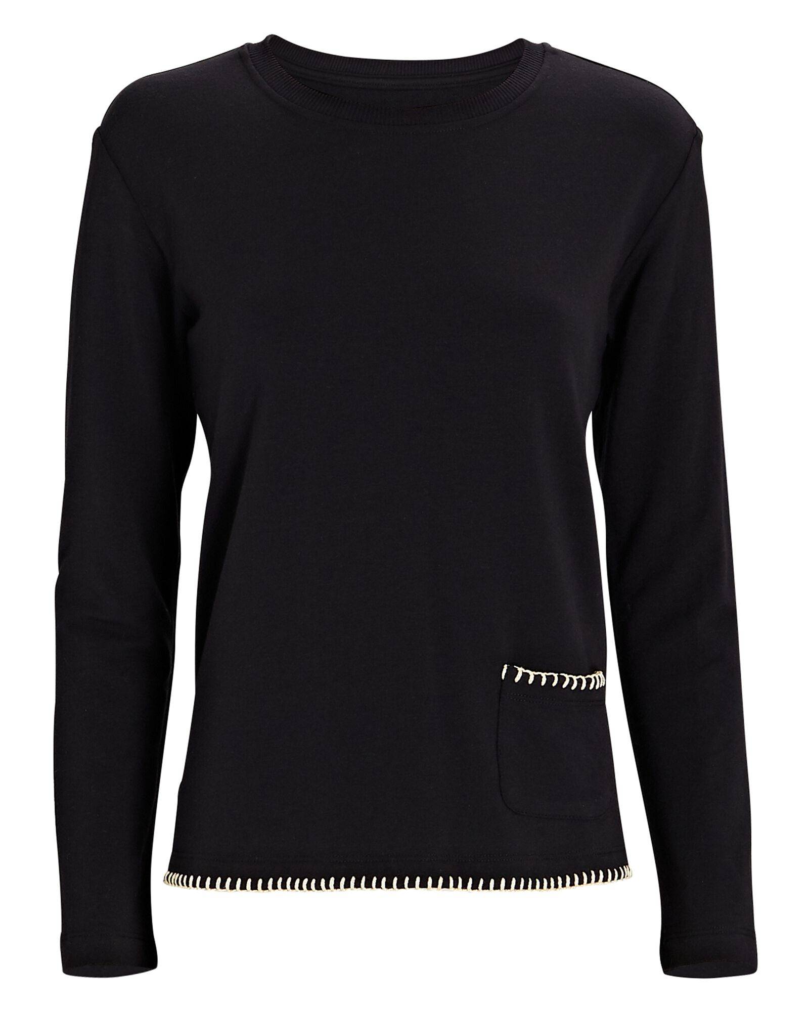 Christy Split Hem Sweatshirt, BLACK, hi-res
