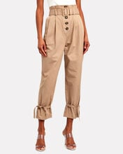 High-Rise Canvas Peg Trousers, BEIGE, hi-res