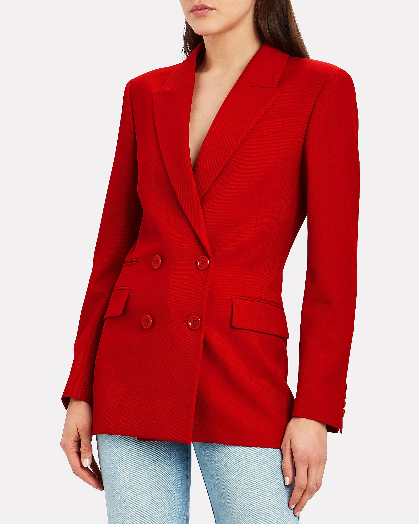Archie Double-Breasted Drill Wool Blazer, RED, hi-res
