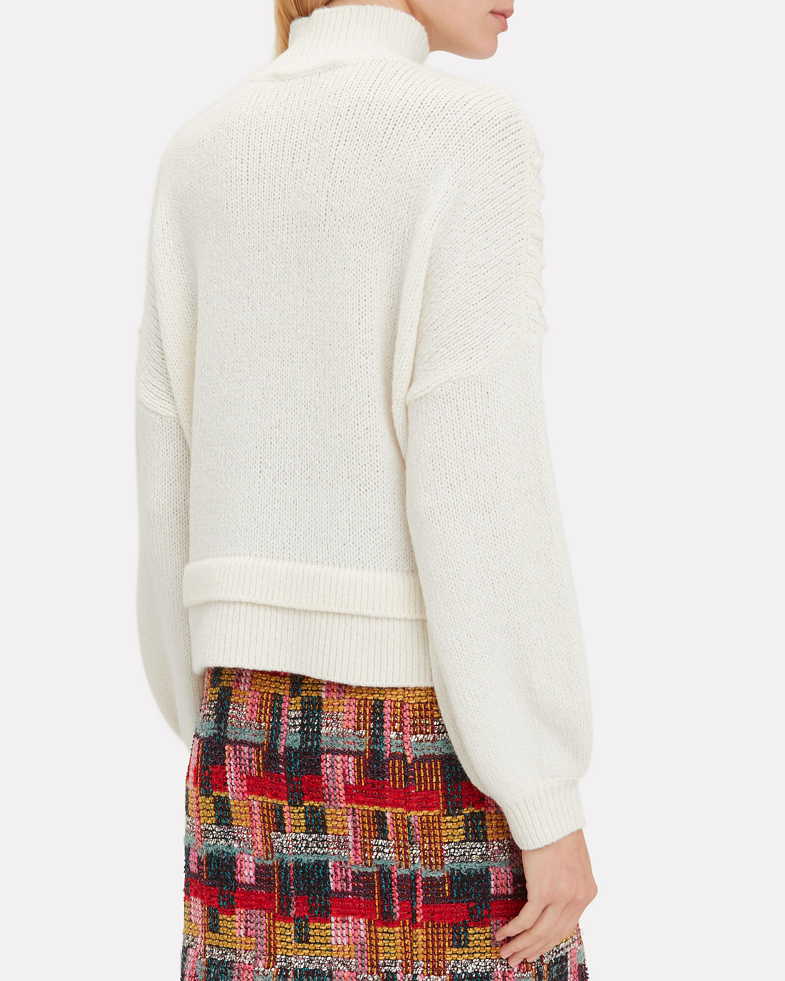 Cable Knit Mock Neck Sweater, IVORY, hi-res