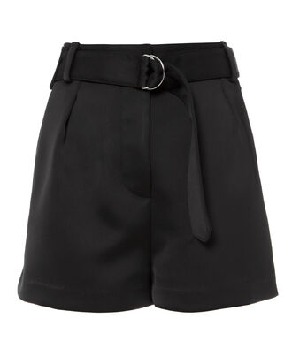 Black Satin Origami Shorts, BLACK, hi-res