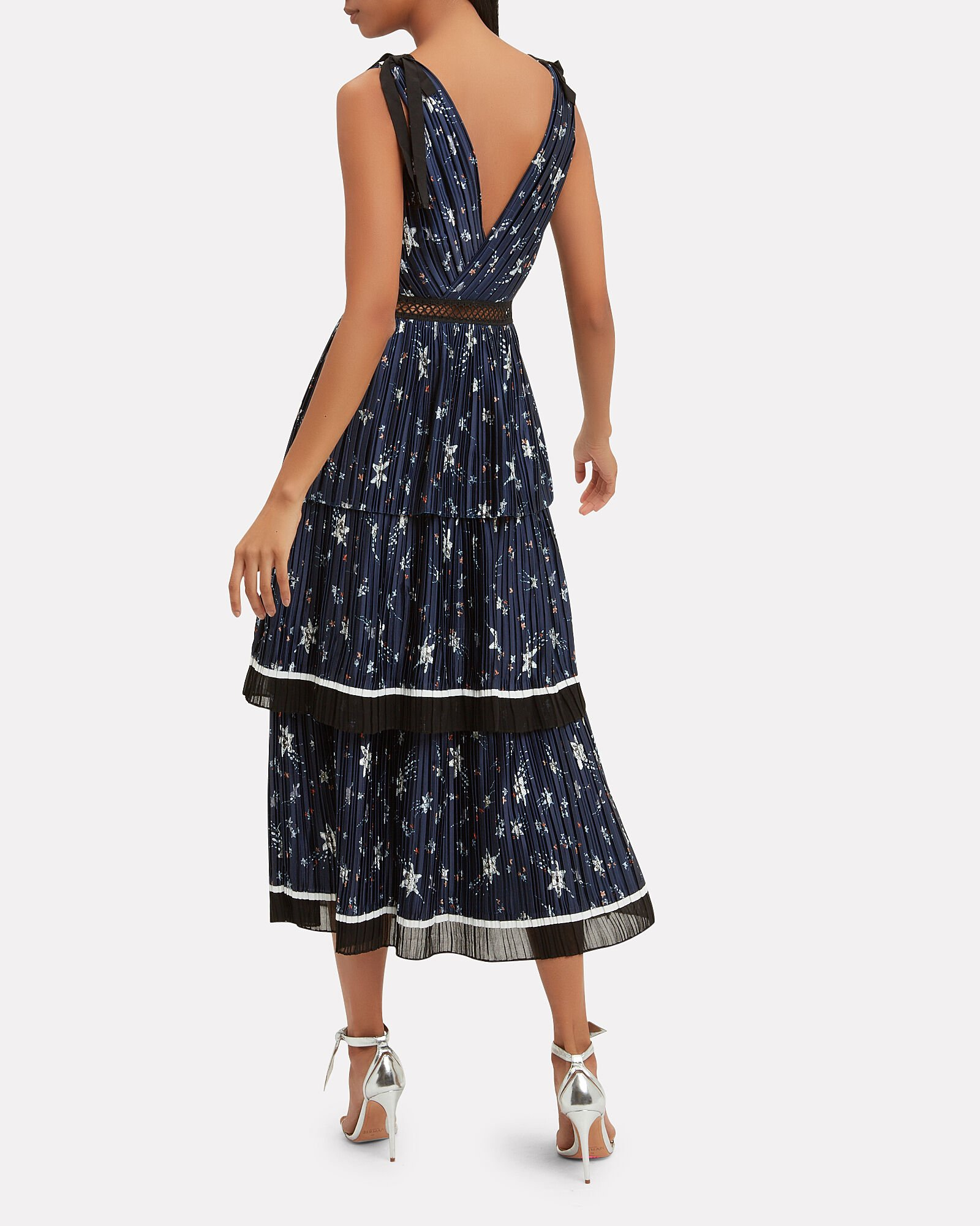 Star Crepe Tiered Dress, NAVY, hi-res