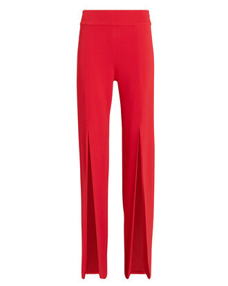 Signature Front Slit Pants, RED, hi-res