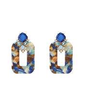 Crystal-Embellished Resin Earrings, MARBLED BLUE, hi-res