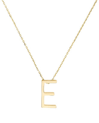 E Alphabet Necklace, GOLD, hi-res