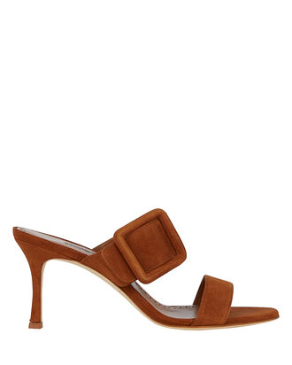Gable Suede Buckle Slides, BROWN, hi-res