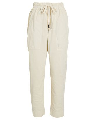 Double Jersey Tapered Pants, IVORY, hi-res