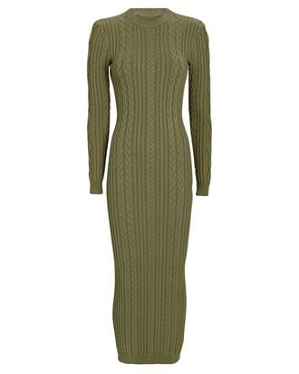 Eire Open Back Cable Knit Dress, OLIVE/ARMY, hi-res