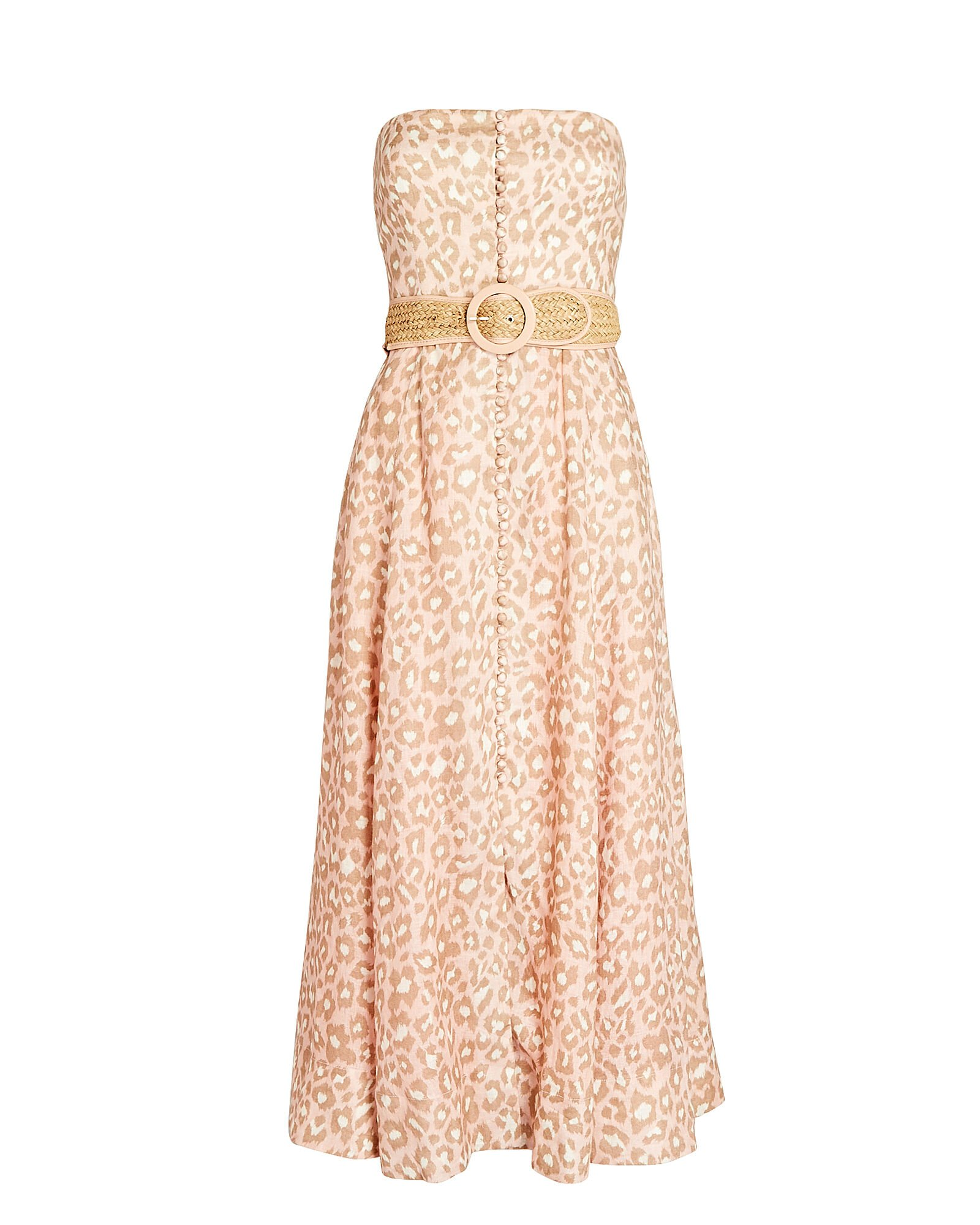 Carnaby Leopard Strapless Midi Dress, PINK/BROWN, hi-res