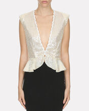 Sequined Peplum Top, IVORY, hi-res