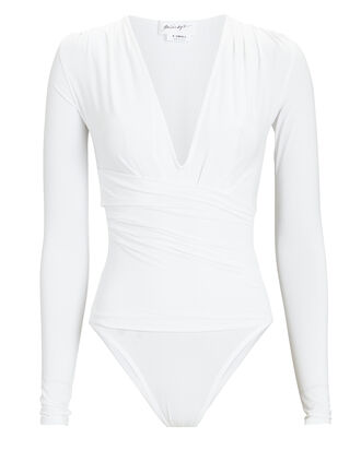 Isla V-Neck Long Sleeve Bodysuit, WHITE, hi-res