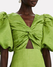 Arcadian Puff Sleeve Knot Dress, GREEN/WHITE/NAVY, hi-res