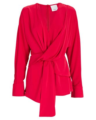 Bercy Draped Tie-Front Blouse, RED, hi-res