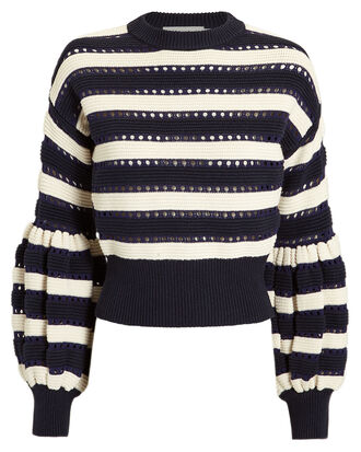 Striped Balloon Sleeve Sweater, MULTI, hi-res