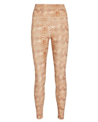 Python Printed High-Waist Leggings, BEIGE/BROWN, hi-res