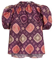 Isolada Printed Puff Sleeve Top, MULTI, hi-res