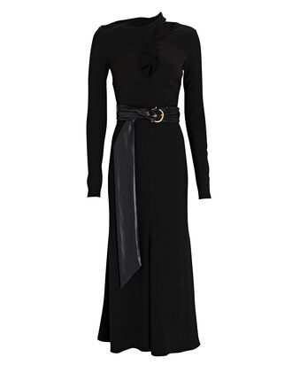 Clement Belted Midi Sweater Dress, BLACK, hi-res