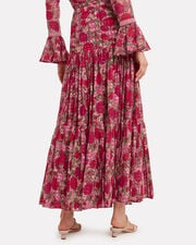 Grizelda Ruffle Maxi Skirt, RED/PINK FLORAL, hi-res
