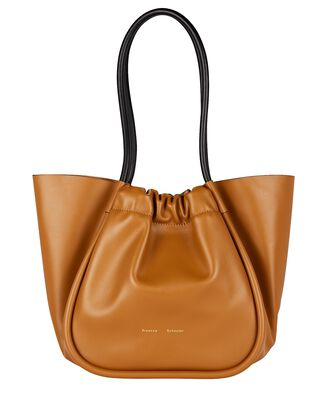 Ruched L Leather Tote, BROWN, hi-res